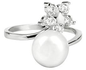 Inel din argint cu perla naturală și cristale transparente JL0322