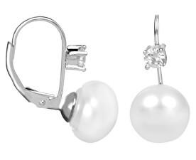 JwL Luxury Pearls Strieborné náušnice s bielou perlou a kryštálom JL0400 6d3620f873c