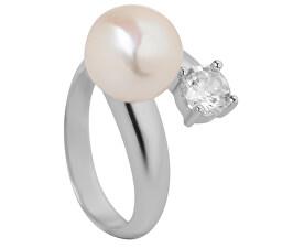 Strieborný prsteň s bielou perlou a čírym kryštálom JL0432