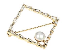 Třpytivá pozlacená brož s pravou perlou JL0520