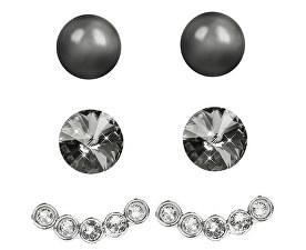 Náušnice Set Ear Cuff 4 v 1 Silver CSN-Dark Grey