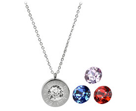 Ocelový náhrdelník 4 v 1 s výměnnými krystaly C-LSI-SA-V