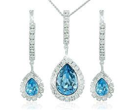 Souprava šperků Avril Aquamarine 3498 (náušnice, řetízek, přívěsek)