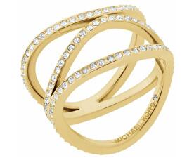 Pozlacený ocelový prsten s krystaly MKJ6638710