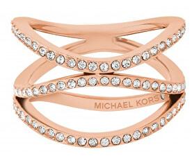 Pozlátený oceľový prsteň s kryštálmi MKJ6640791