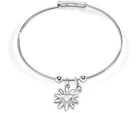 Ocelový náramek s kytičkou a diamantem Enjoy SAJS01