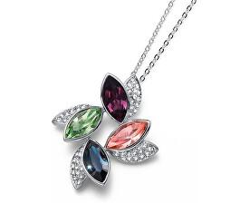 Colier elegant cu cristale colorate Leaf 11792 MUL