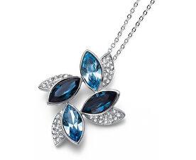 Elegantný náhrdelník s modrými kryštálmi Leaf 11792 BLU