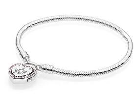 Stříbrný náramek se zámečkem ve tvaru srdce 596586fpc