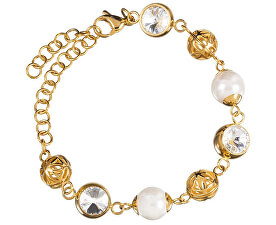 Luxusní náramek s perlami a krystaly Lotus Pearl 7294Y00