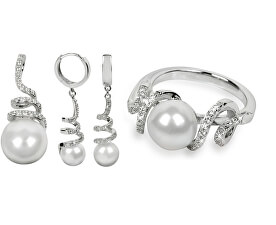 Set de bijuterii cu perle autentice colier + gratuit