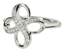 Strieborný prsteň s kryštálmi SC013