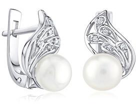 Stříbrné náušnice Genevie s pravými perlami FNJE0778-PR