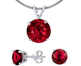 Stříbrný set šperků s červeným křišťálem JJJS7RR1