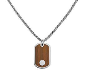 Oceľový náhrdelník Psie známka s imitáciou dreva TH2700692