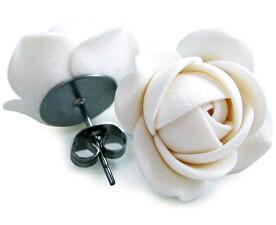 Bílé náušnice puzetky kytičky