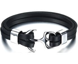 Černý kožený náramek s ocelovou kotvou Leather