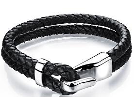 Černý kožený náramek s ocelovým hákem Leather