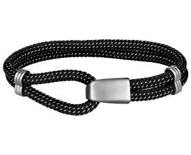 Brățară din bumbac neagră cu cârlig de oțel