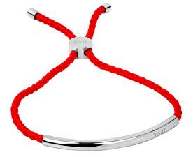 Červený šnúrkový náramok s oceľovou ozdobou
