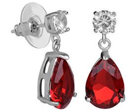 Jiskřivé náušnice s červenými krystaly