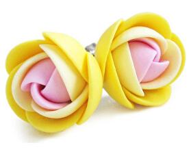 Růžovo-žluté náušnice puzetky kytičky