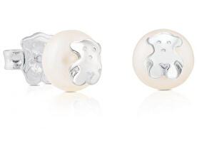 Náušnice z pravých perál s medvedíkom 211140420