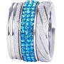 Sada troch vrstvených prsteňov v striebornej a modrej farbe 7305 70