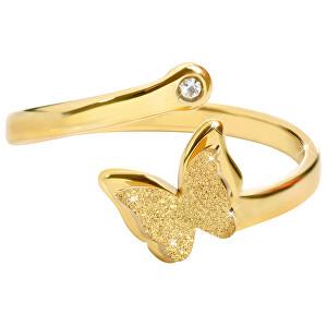 ebebee4c61e Romantický pozlacený prsten s motýlkem