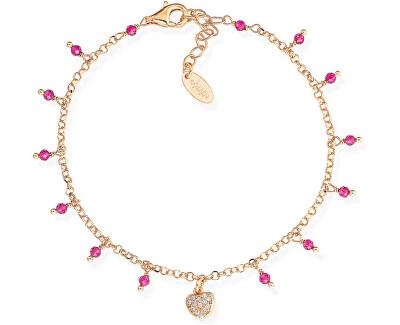 Růžově pozlacený stříbrný náramek s krystaly a zirkony Romance BRCRROZ