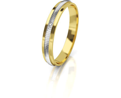 Női bicolor arany jegygyűrű gyémánttal AUG328