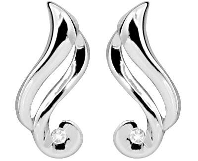 Stříbrné náušnice na šroubek s diamanty DAGUP1246S