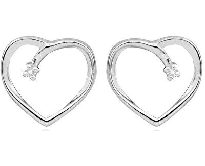 Stříbrné srdíčkové náušnice na šroubek s diamanty DAGUP1253S