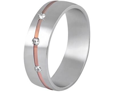 Dámský bicolor snubní prsten z oceli SPD07