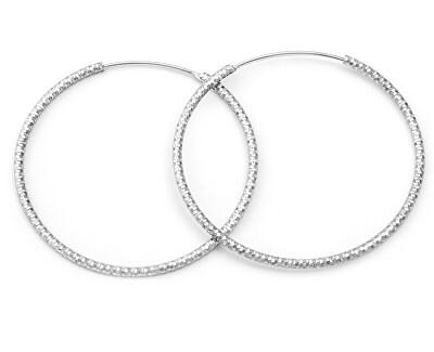 Luxusní kruhové stříbrné náušnice AGUC787
