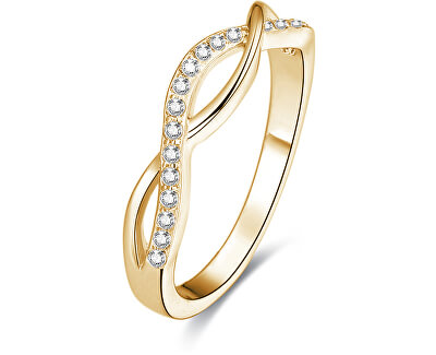 Pozlacený stříbrný prsten s krystaly AGG192