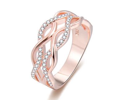 Růžově pozlacený stříbrný prsten se zirkony AGG333
