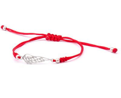 Šňůrkový červený kabala náramek Andělské křídlo AGB568