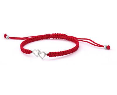 Šňůrkový červený kabala náramek Srdce AGB547