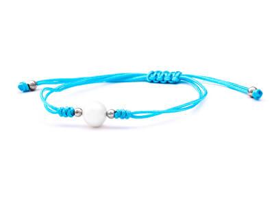 Šňůrkový modrý kabala náramek s pravou perlou AGB567