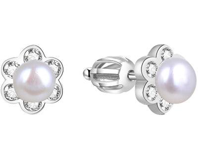 Stříbrné kytičkové náušnice s perličkou AGUP1577PS