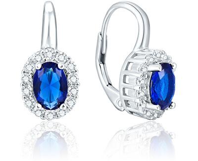 Stříbrné náušnice s modrými krystaly AGUC1167