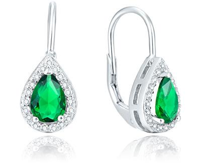 Stříbrné náušnice se zeleným krystalem AGUC1161