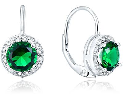 Stříbrné náušnice se zelenými krystaly AGUC1157