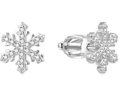Stříbrné náušnice Sněhové vločky AGUP1596S
