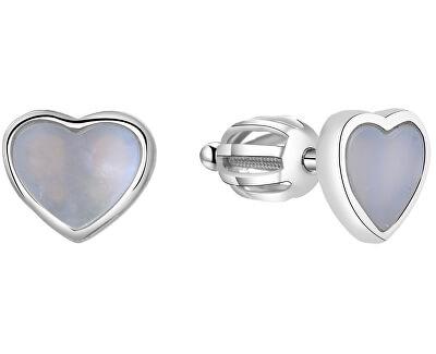 Stříbrné srdíčkové náušnice s perletí AGUP1653S