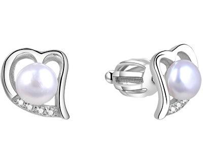 Stříbrné srdíčkové náušnice s pravou perlou AGUP1412P
