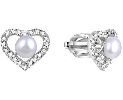 Stříbrné srdíčkové náušnice s pravou perlou AGUP1659PS