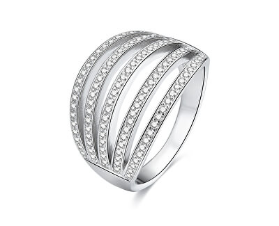 Stříbrný prsten se zirkony AGG338