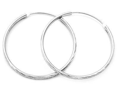 Úžasné stříbrné kruhové náušnice AGUC355